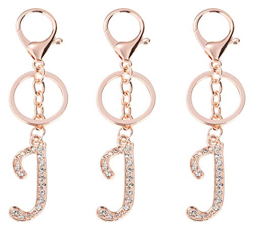 J Initial Charms - 3-Pack Rose Gold Letter Keyring, Purse Keychain for Handbags, Crystal Alphabet Initial Letter Pendant with Key Ring, 5 Inches (Letter J Keychain)