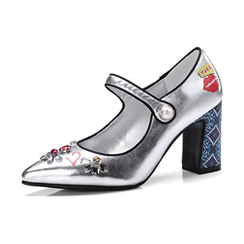 Sandalias Señaló Silver amp;S Aguja de Mujer la Al Tacones Tobillo Toe MEI HA8qwp5w