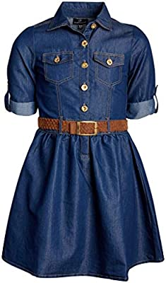 dollhouse Girls Belted Denim Chambray Dress with Roll Cuffs