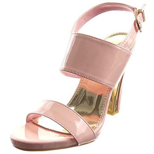 Sopily - Zapatillas de Moda Sandalias Tacón escarpín Zapatillas de plataforma Abierto Caña baja mujer brillantes Hebilla Talón Tacón ancho alto 10.5 CM - Rosa