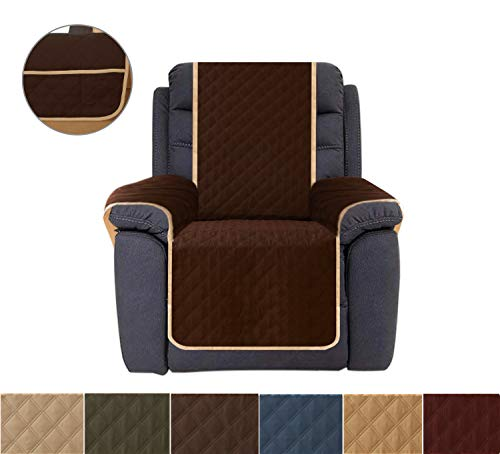 """Ameritex Recliner Chair Cover, Reversible Quilted Furniture Protector, Ideal Recliner Slipcovers for Pets & Children (23"""", Chocolate)"""