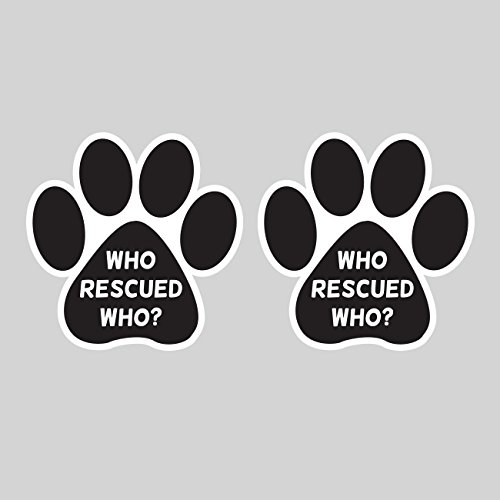Two Pack Who Rescued Who Paw Sticker FA Graphix Die Cut Decal dog cat animal adopt puppy rescue fagraphix 508CFBFA-2-FA2350