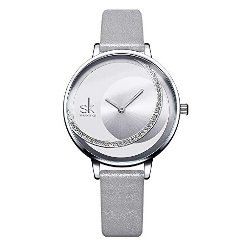 SK Shengke Leather Band Womens Diamond Watches Waterproof Women Simple Style Fashion Wrist Watches for Women Female Girl Ladies Wrist Quartz Watches for Women On Sale (FK0088 Gray)