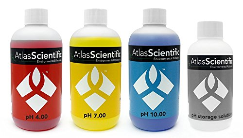 Calibration Solution Test Kit pH 4.0, 7.0, 10.0 & Electrode Storage Solution – Calibrate pH Meters & Protect pH Probe - Testing Equipment For Labs, Pools, Hydroponics - (Pack of 4) 4oz - Solution Calibration