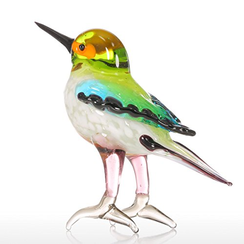 Tooarts Tiny Bird Glass Sculpture Ornament Bird Figurine Hand Blown Statue ()