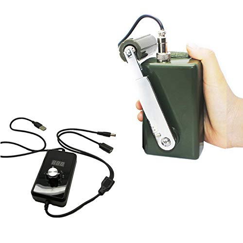 Tech-L Hand Crank Generator 30W 0-28V Portable Dynamo Phone Charger Military for Outdoor Mobile Phone Computer Charging with USB Plug (Green with DC Regulator+ LED - Generator Hand