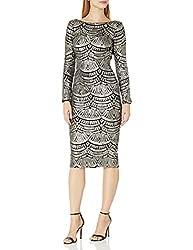 Platinum/Black Long Sleeve Sequin Midi Dress
