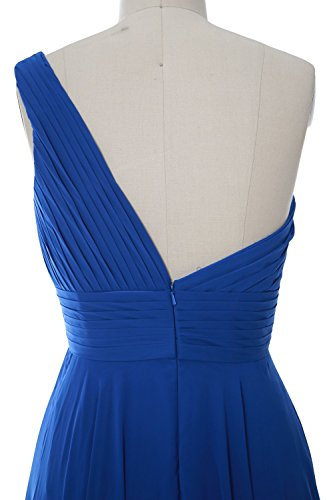 MACloth Women One Shoulder Short Bridesmaid Dress Wedding Party Evening Gown Cielo azul