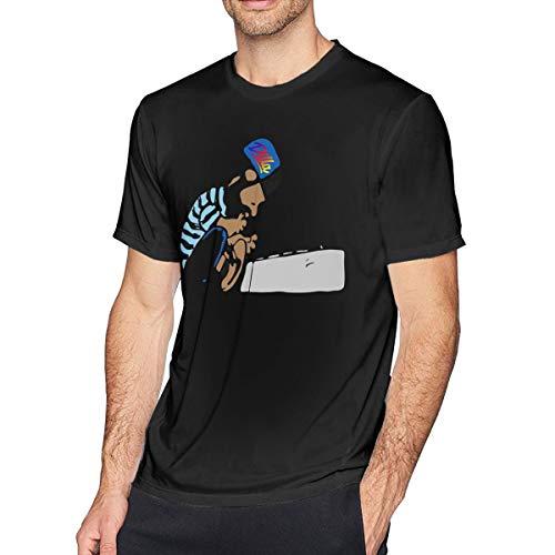 HEETENGGR O-Neck Fashion S Cartoon Black Cotton J Dilla Short Sleeve T-Shirt for Mens and Boys Black L