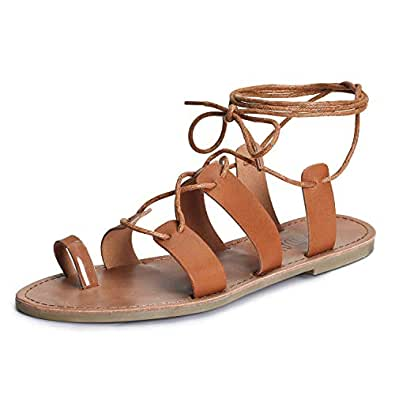 SANDALUP Tie Up Flat Gladiator Roman Sandals for Women Brown Size: 5