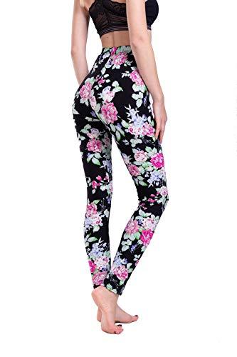 - Yiwbeij Leggings for Women, Ankle Length Mid Waist Soft Flower Active Yoga Leggings (One Size(2-12), Flower)