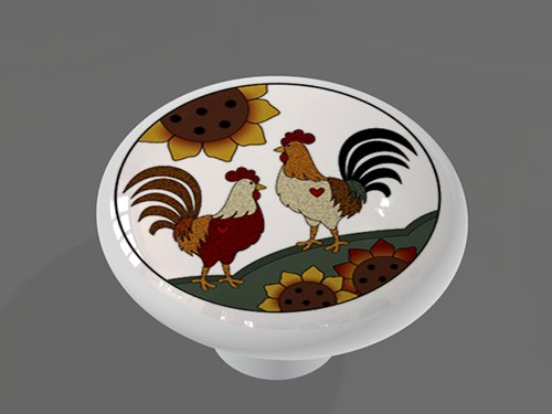 Sunflower Sunrise Roosters High Gloss Ceramic Drawer Knob (Sun Rooster)