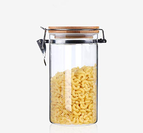 40.6 OZ Clear Glass Jar Set, Air Tight Canister Storage Containers with Natural Bamboo Lids for Kitchen, Bathroom, Home Decor,1200ML
