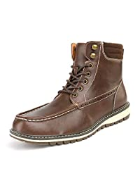 Bruno Marc Men's Apache-02 Dark Brown Faux Fur Lined Motocycle Combat Oxford Ankle Boots Size 15 M US