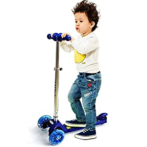 LIYU Toddler Kids Kick Scooter Mini 3 Wheels Portable Adjustable Push Scooter with LED Flashing Light Birthday Christmas Gifts for Boys Girls Children 2-8 Years Old (Blue)