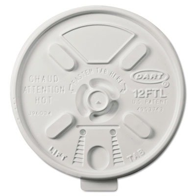 Dart Container Corporation Dcc 12Ftl Lift/Lock Foam Cup Lid F/12Oz Whi 1M DCC 12FTL