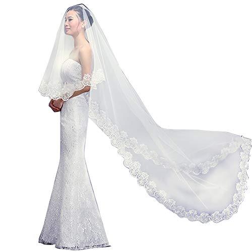 Qivange Bridal Veil 3 Meter Vintage Lace Applique Edge 1 Tier Cathedral Veil Long Laciness Prom Hen Party Veil, Ivory