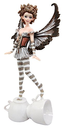 Ebros Gift Amy Brown Cute Teacup Coffee Fairy Figurine Brown Espresso Lovers Faerie Figure 7.25