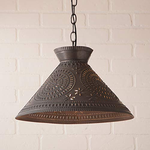 (Roosevelt Shade Light with Chisel in Blackened Tin)