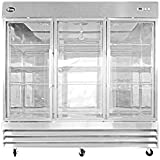 CFD-3RRG 81 Three Section Glass Door Reach in Refrigerator - 72 cu. ft.