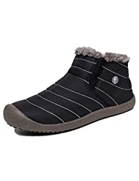 YIRUIYA Mens Anti-Slip Snow Boots with Fully Fur Lined High Top/Low Top Winter Warm Sneakers