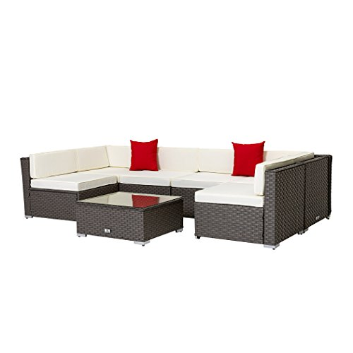 Welpatio 7-Piece PE Wicker Rattan Patio Sectional Conversation Sets with Cushions & Pillows - Chaise Lounge Sofa Outdoor Seating Grey -