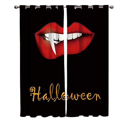BABE MAPS 2 Panel Set Blackout Curtains Halloween Vampire Teeth Red Lips Darkening Window Curtain Thermal Insulated Grommet Drape Panels for Living Room and Bedroom 52
