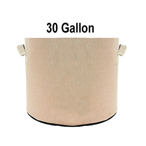 TopoGrow 12 Pack 30 Gallon Grow Bags Tan Fabric Round Aeration Pots Container for Nursery Garden and Planting Grow (30 Gallon, Tan) by TopoGrow