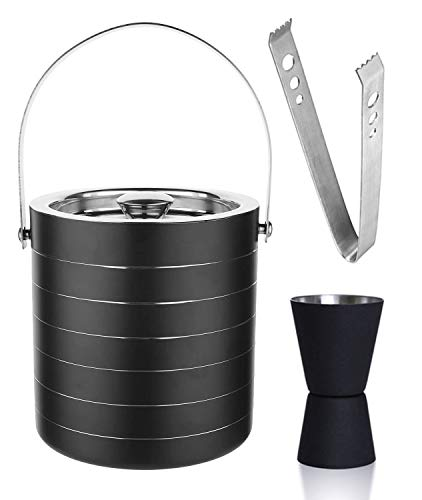 HAINE Barware Bar Set of Double Wall Insulated Ice Bucket 1750 ml with Lid | Peg Measure Jigger | Tong, Stainless Steel Price & Reviews