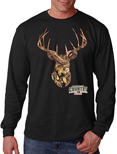 Mossy Oak Camo Deer Head Men's Black Long Sleeve T-Shirt Large -