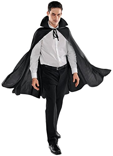 AMSCAN Black Cape Deluxe Halloween Costume Accessories for Adults, One -