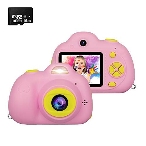 Kids Camera, RegeMoudal Kids Digital Video Camera, 1080P FHD Kids Shockproof Video Camcorder with 2 Inch IPS Screen and 16GB SD Card, Perfect Gift Choice for kids 3-10 Years Old Boys and Girls,Pink