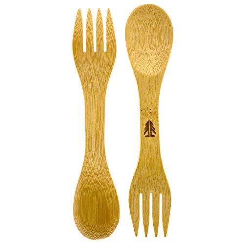Bamboo Sporks Pack of 4 Simply 100% Bamboo Eating Utensils