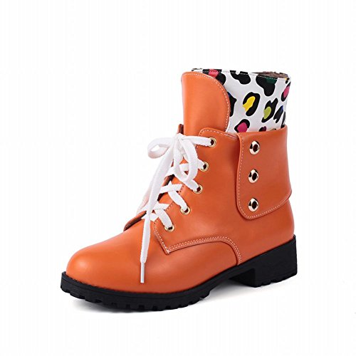 Carolbar Mujeres Lace Up Fashion Assorted Colors Cute Lovely Spot Print Low Heel Martin Botas Cortas Naranja