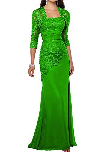 La_mia Braut Traube Langes Brautmutterkleider ABendkleider mit spitze Ballkleider Etuikleider mit Langarm Bolero Grün IU5zSgy
