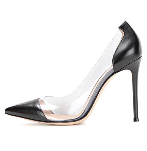 Kolnoo 10CM Damenschuhe Pumps Bequeme Lack Stilettos Transparent Schuhe Schwarz