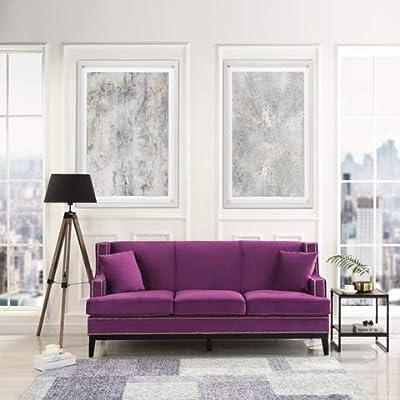 DIVANO ROMA FURNITURE Modern Soft Velvet Sofa with Nailhead Trim Detail (Purple)