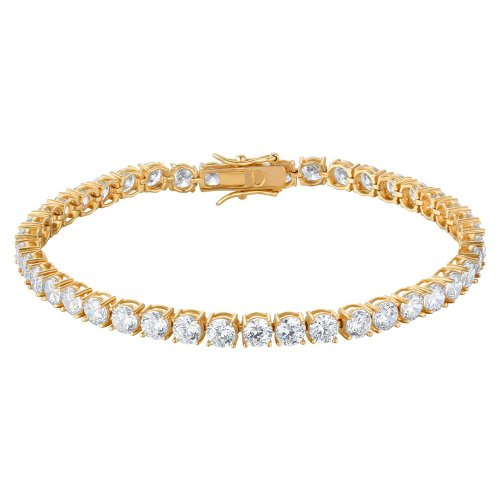 3.25mm 3ctw 14k Gold Plated Overlay 4 Prong ROUND Clear Bright CZ Tennis Bracelet 7