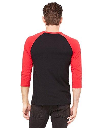 - Bella + Canvas Unisex 3/4-Sleeve Baseball T-Shirt, Large, BLACK/RED