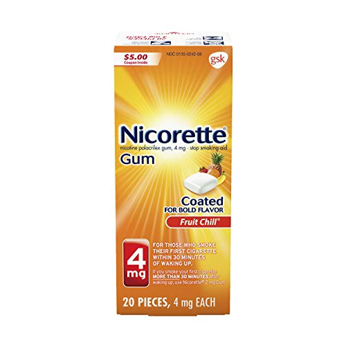 Nicorette 4 mg Nicotine Gum to Quit Smoking - Flavored Stop Smoking Aid, Fruit Chill, 20 Count