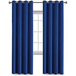 Blackout Curtains Panels for Bedroom - Three Pass Microfiber Noise Reducing Thermal Insulated Solid Ring Top Blackout Window Drapes (Two Panels, 52 x 96 Inch, Royal Blue)