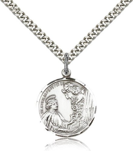 Amazon sterling silver saint cecilia pendant medal 78 inch sterling silver saint cecilia pendant medal 78 inch mozeypictures Choice Image