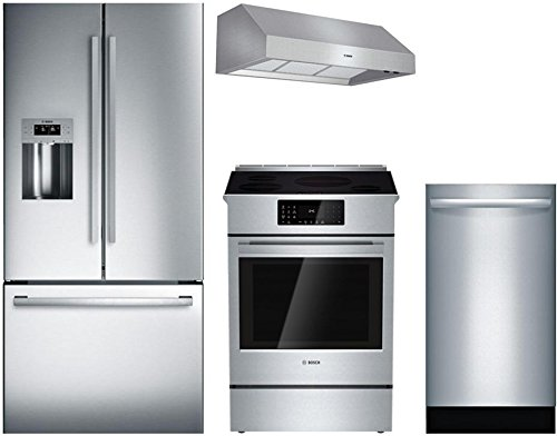 "Bosch 4-Piece Stainless Steel Kitchen Package with B26FT50SNS 36"" French Door Refrigerator, HII8055U 30"" Slide-In Electric Range, DPH30652UC 30"" Under Cabinet Hood, and SGX68U55UC 24"" Fully Integrated"