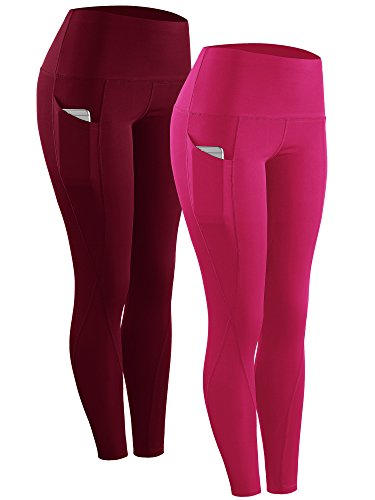 Neleus 2 Pack Tummy Control High Waist Running Workout Leggings,9017,2 Pack,Red,Rose Red,US XL,EU 2XL ()