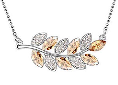 Agate Silver Necklace Leaf (New Womens Leaves Yellow Crystal Rhinestone Silver Chain Pendant Necklace -)