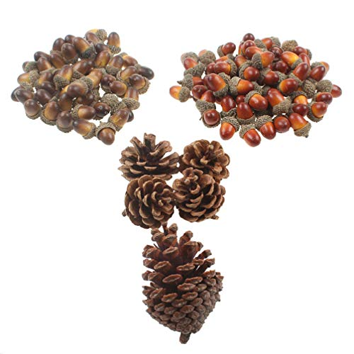 Liqidécor 110pcs 2 Color Artificial Acorns and 2 Size Pinecones Ornament Set for Crafting, Wedding, Autumn Party Hanging Decor, Crafting, Wedding, House Decor