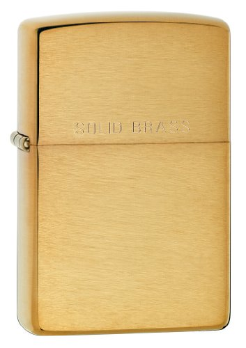 Brass Icon - Zippo Solid Pocket Lighter, Brushed Brass with Solid Brass