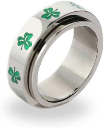 Irish Clover Spinner Ring Luck of the Irish Green Clover Ring St Patricks Jewelry