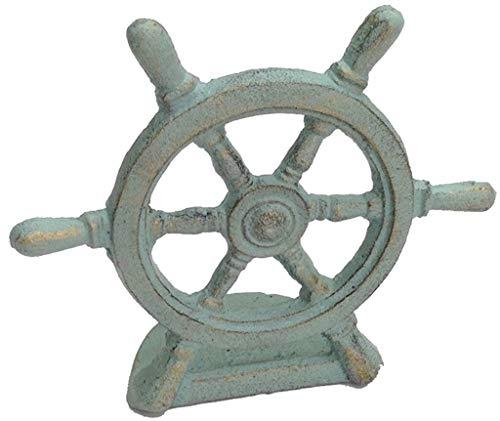 Chesapeake Bay Cast Iron Ships Wheel Doorstop 67795 6.75 Inches x 3 Inches x 6 Inches Verdigris - Bay Doors