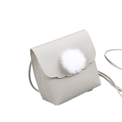 Messenger Bags Lady Casual Small Flap Bag Hairball Shoulder Bag Mini Cell Bag Girl Gray